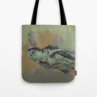 sea turtle Tote Bags featuring Sea Turtle by Michael Creese