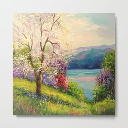 Cherry blossom by the river Metal Print