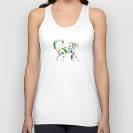 Whimsical Leafly Cat Unisex Tank Top