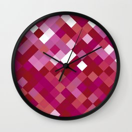 Lesbian Pride Pixelated Angled Squares Wall Clock