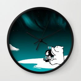 Icelandic bear, aurora borealis Wall Clock