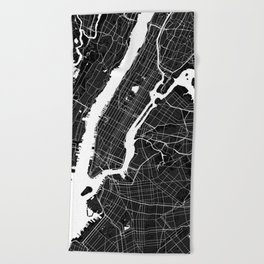 New York - Minimalist City Map Beach Towel