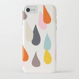 Raindrops on Beige iPhone Case