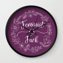 FEMINIST AS FUCK - Sweary Floral Wreath Wall Clock