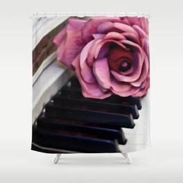 Piano Keys With Rose Shower Curtain