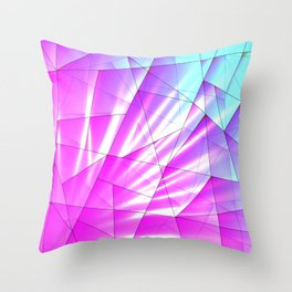 Bright sky fragments of crystals on irregularly shaped purple and blue triangles. Throw Pillow
