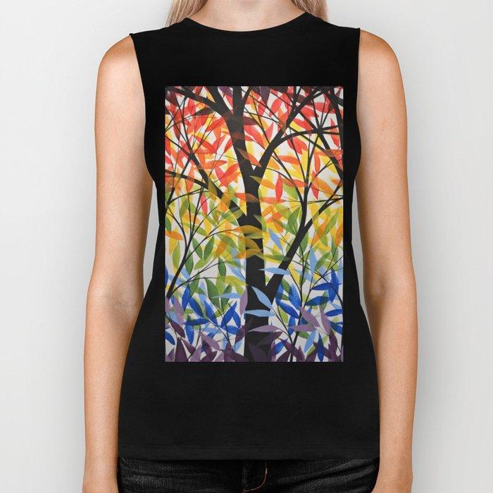 Abstract Art Original Landscape Painting ... Spectrum of Trees Biker Tank