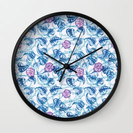 Ipomea Flower_ Morning Glory Floral Pattern Wall Clock