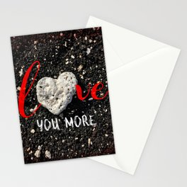 """""""Love You More"""" Hawaii Beach with Coral Heart Photo Stationery Cards"""