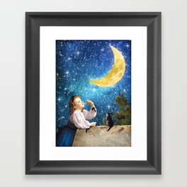 One Wish Upon the Moon Framed Art Print