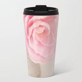Single pink Camelia rose in clear vintage vase. Travel Mug