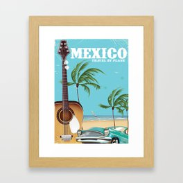 Mexico City Acoustic Guitar vintage travel print Framed Art Print