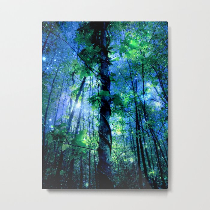 Forest of the Fairies Blue Night Metal Print