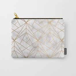 Geometric Gold Pattern on Marble Texture Carry-All Pouch