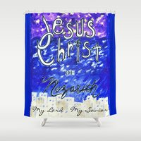 christ Shower Curtains featuring Faith In Christ by Artsy Craftery Design Studio