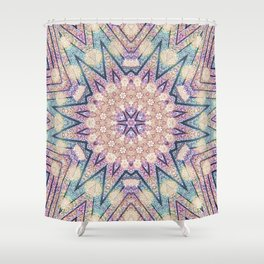 Metallic Pink Doily Geometric Star Shower Curtain
