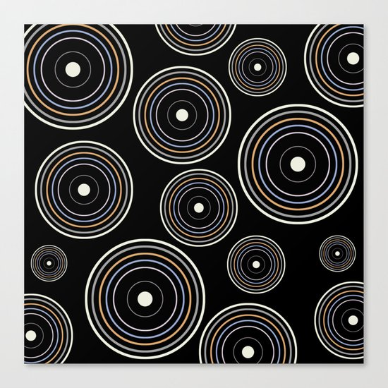 CONCENTRIC CIRCLES IN BLACK (abstract pattern) Canvas Print