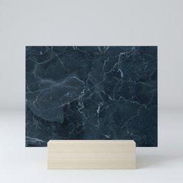 Dark blue marble texture Mini Art Print