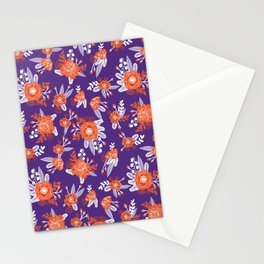 University football fan alumni clemson orange and purple floral flowers gifts Stationery Cards