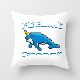 Adorable Feeling Stabby 8-Bit Narwhal Funny Whale Throw Pillow