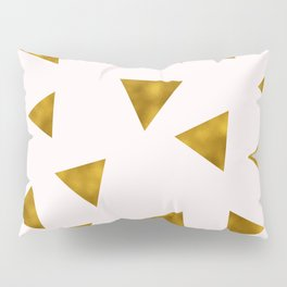 Soft Pink And Rustic Gold Triangles Pillow Sham