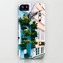 Digital Illustration of Plants and Light Mounted onto a Colourful Danish House in Nyhavn, Copenhagen iPhone Case