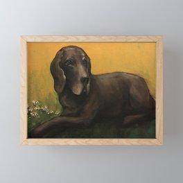 Dog and Daisies Framed Mini Art Print