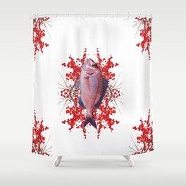 Red Berries Fish Shower Curtain