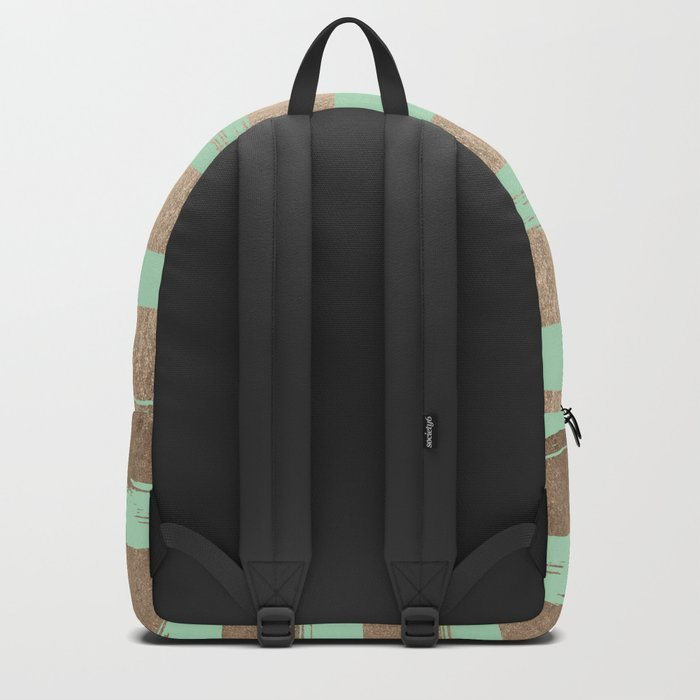 Painted Stripes Gold Tropical Ocean Green Backpack