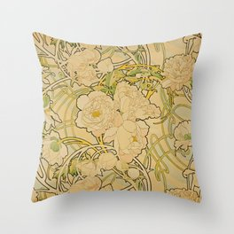 Alphonse Mucha - Peonies Throw Pillow