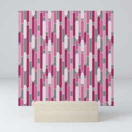 Modern Tabs in Rosy Pinks on Gray Mini Art Print