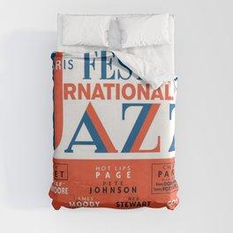 Vintage 1949 Paris International Jazz Festival Poster Duvet Cover