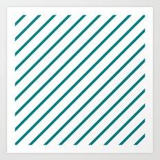 Diagonal Lines (Teal/White) Art Print