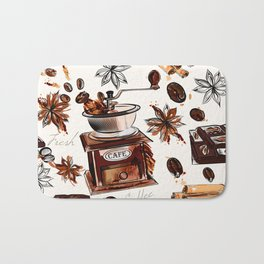 Coffee watercolor pattern with grains coffee mill and chocolate Bath Mat