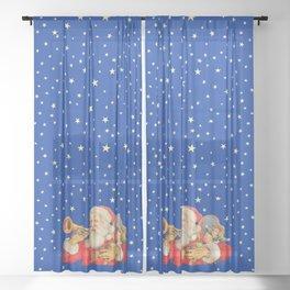 Santa Claus & Christmas Stars on the Night Sky Sheer Curtain