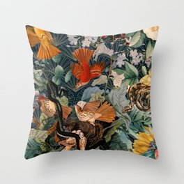 Birds and snakes Throw Pillow