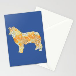 Border Collie Vintage Floral Pattern Orange Blue Yellow White Stationery Cards