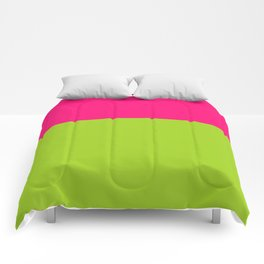 pink and green color block Comforters