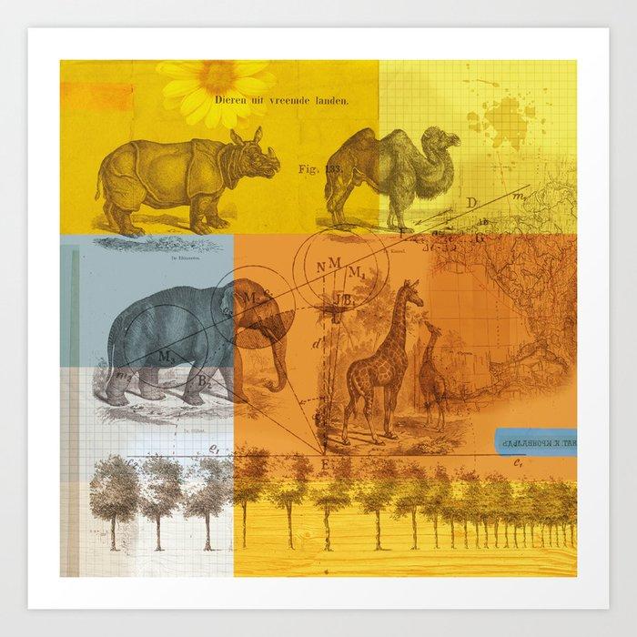 Wild Animals Collage Art Print