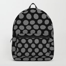 Gray Polka Dots on Black Pattern Backpack