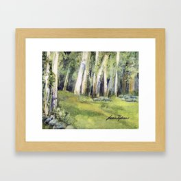Woodland Landscape Watercolor Vermont Painting Birch Trees Spring Fields Framed Art Print