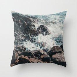 Splashing Waves on Rocks 01 Throw Pillow