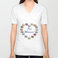 macaroons V-neck T-shirts featuring I love macaroons by Vannina