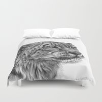 snow leopard Duvet Covers featuring Snow Leopard G095 by S-Schukina