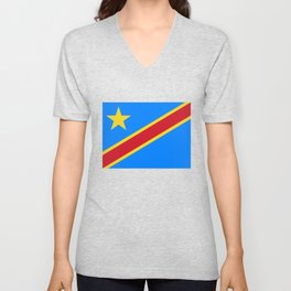 National flag of the Democratic Republic of the Congo, Authentic version (to scale and color) Unisex V-Neck