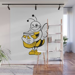 Bee with honey pot. Wall Mural