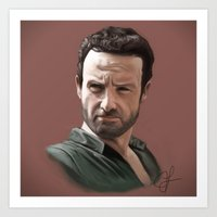 rick grimes Art Prints featuring Rick Grimes by jlamelas89