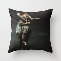 underwater Throw Pillows featuring abyss of the disheartened : V by Heather Landis