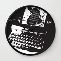 hemingway Wall Clocks featuring Ernest Hemingway Quote by People Matter Creative