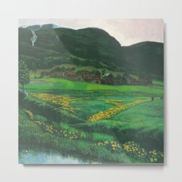 Idyllic Mountain and Meadow Landscape, A Clear Night in June by Nikolai Astrup Metal Print